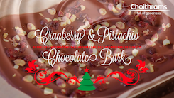 Cranberry & Pistachio Chocolate Bark