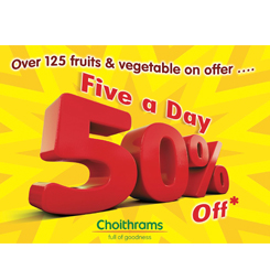 50% off on Fruits and Vegetable!